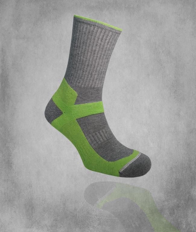 Tekninen sukka 480 / lime / harmaa