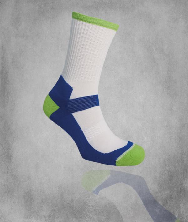 Tekninen sukka 480 / valkoinen / sininen / lime